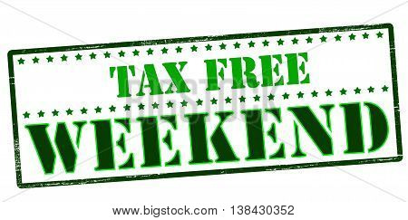 Rubber stamp with text tax free weekend inside vector illustration