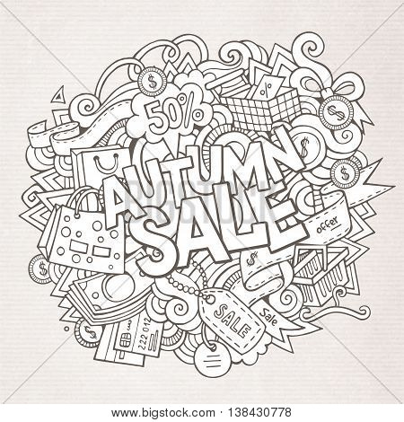 Cartoon cute doodles hand drawn shopping illustration. Sketchy picture with doodle inscription Autumn sale