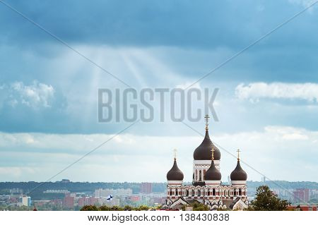 Old Tallinn. Estonia. View to Orthodox church Alexander Nevsky from Oleviste church in summer