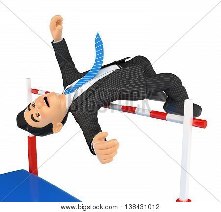 3d business people illustration. Businessman competing in high jump. Overcoming. Isolated white background.