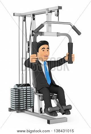 3d business people illustration. Businessman exercising in a weight machine. Isolated white background.