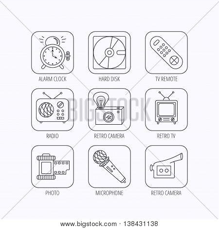 Microphone, video camera and photo icons. Alarm clock, retro radio and TV remote linear signs. Flat linear icons in squares on white background. Vector