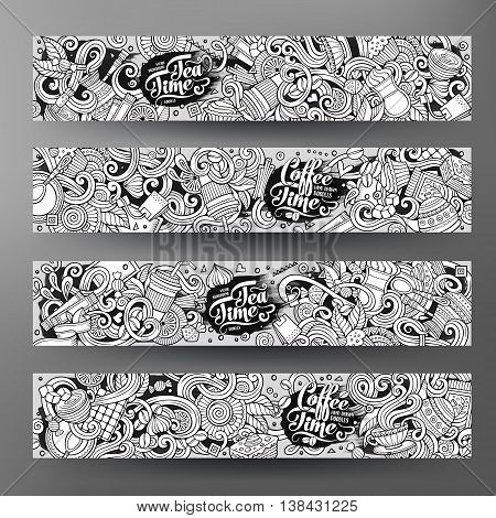 Cartoon cute sketchy line art vector hand drawn doodles cafe corporate identity set. 4 horizontal banners design