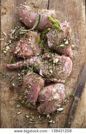 Portions Of Raw Rabbit