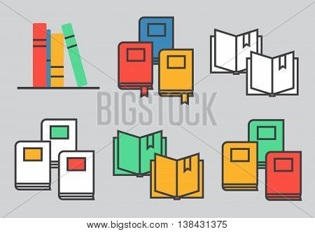 Set of book icons in flat design style eps10