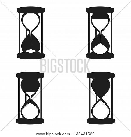 Set of vector hourglass icons. Hourglass icons for download or upload status. Waiting time icons in hourglass shape with white sand inside. Isolated on white.
