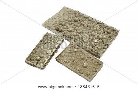 Cut strips of cathode nickel plates - one of many products non-ferrous metallurgy plants.  Closeup, isolated, white background