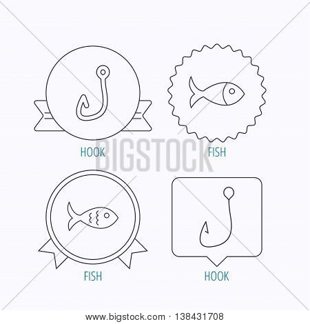 Fishing hook and fish icons. Fish linear sign. Award medal, star label and speech bubble designs. Vector