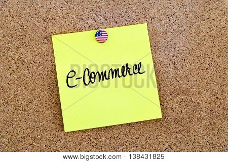 Written Text E-commerce Over Yellow Paper Note