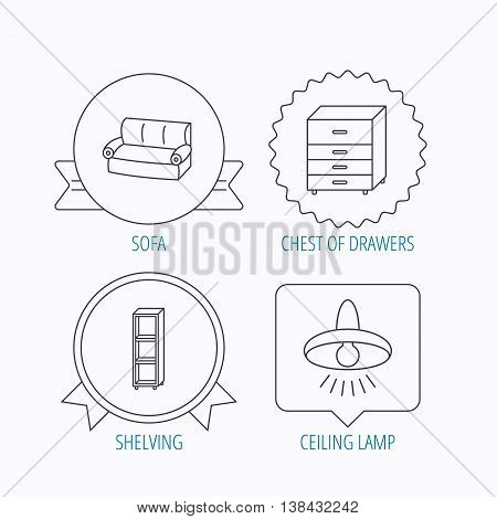 Sofa, ceiling lamp and shelving icons. Chest of drawers linear sign. Award medal, star label and speech bubble designs. Vector