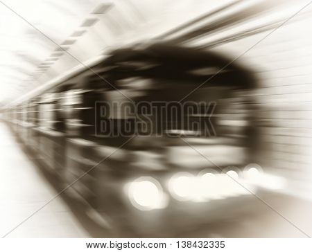 Vintage metro train in motion abstraction background