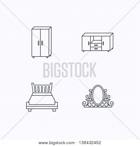 Double bed, vintage mirror and cupboard icons. Chest of drawers linear sign. Flat linear icons on white background. Vector