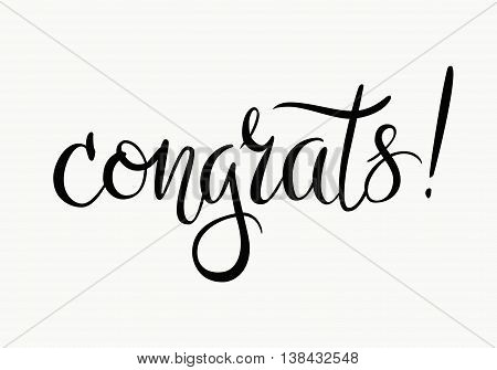 Congratulations. Hand lettered message isolated on white