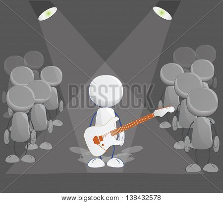 Rock player icon with guitar on the stage