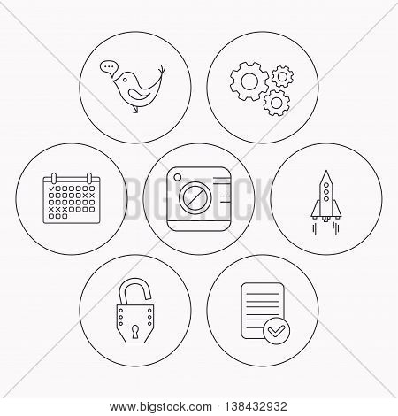 Photo, social media and rocket icons. Open lock linear sign. Check file, calendar and cogwheel icons. Vector