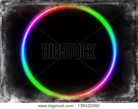 Vintage Postcard Colorful Spectrum Ring On Black Background
