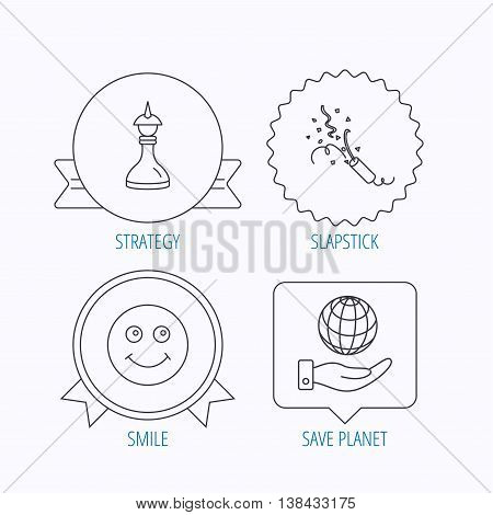 Save planet, slapstick and strategy icons. Smile linear sign. Award medal, star label and speech bubble designs. Vector