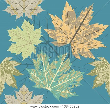 Seamless pattern with old autumn leaves. Autumn template for textile design.