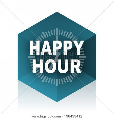 happy hour blue cube icon, modern design web element