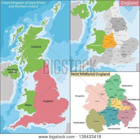 Map of West Midlands England