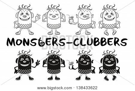 Set of Cute Cartoon Monsters Clubbers, Black Contour and Silhouette Characters, Listening Music, Smiling and Dancing, Elements for Holiday Party Design, Prints and Banners, Isolated on White. Vector