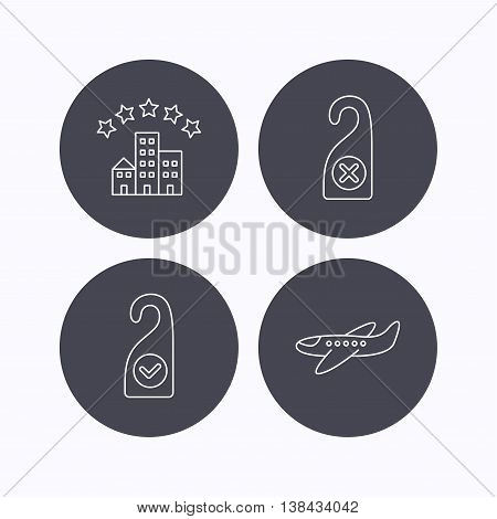 Hotel, airplane and do not disturb icons. Clean room linear sign. Flat icons in circle buttons on white background. Vector