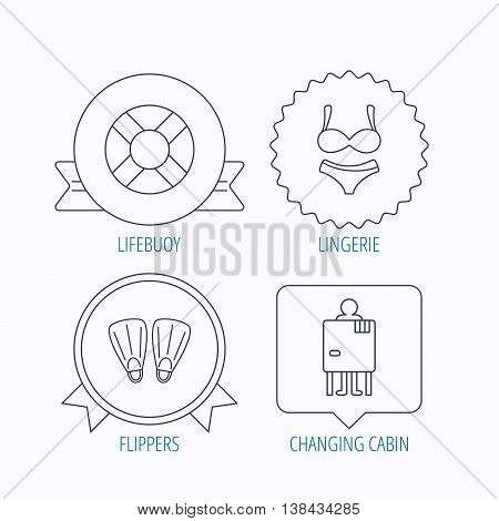 Lifebuoy, lingerie and flippers icons. Changing cabin linear sign. Award medal, star label and speech bubble designs. Vector