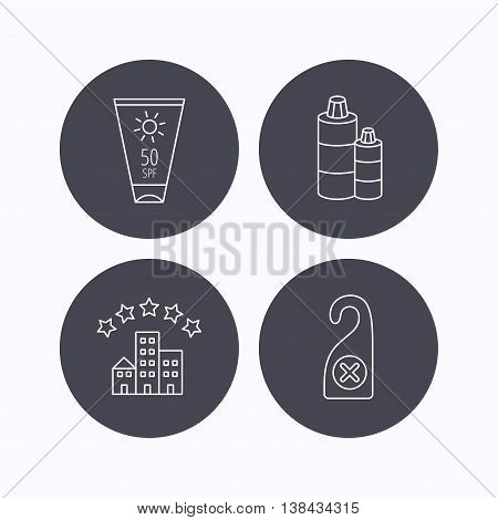Hotel, shampoo and sun cream icons. Do not disturb linear sign. Flat icons in circle buttons on white background. Vector