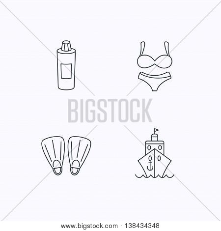 Cruise, swimming flippers and lingerie icons. Shampoo bottle linear sign. Flat linear icons on white background. Vector