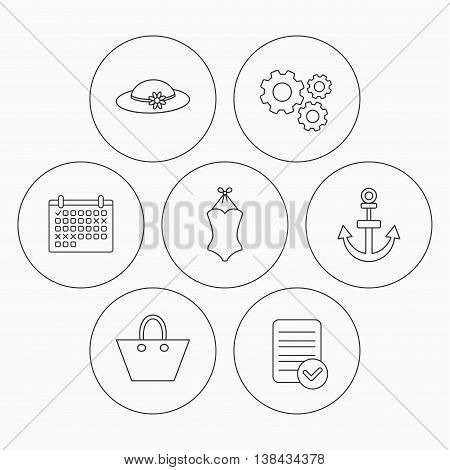 Anchor, ladies handbag and swimsuit icons. Swimsuit linear sign. Check file, calendar and cogwheel icons. Vector