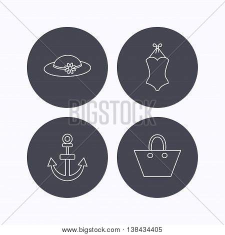 Anchor, ladies handbag and swimsuit icons. Swimsuit linear sign. Flat icons in circle buttons on white background. Vector
