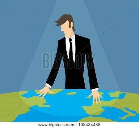 Business man looking at a world map.