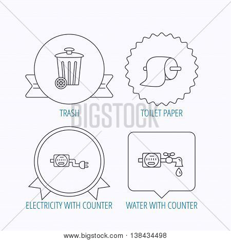 Trash bin, electricity and water counter icons. Toiler paper linear sign. Award medal, star label and speech bubble designs. Vector
