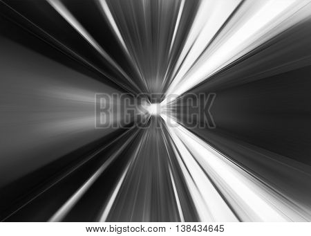Black And White Abstract Teleport Tunnel Motion Blur Background