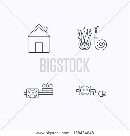 Real estate, fire hose and gas counter icons. Electricity counter linear sign. Flat linear icons on white background. Vector