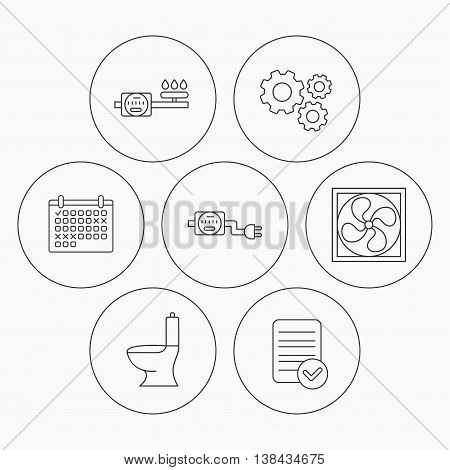 Ventilation, toilet and gas counter icons. Electricity counter linear sign. Check file, calendar and cogwheel icons. Vector