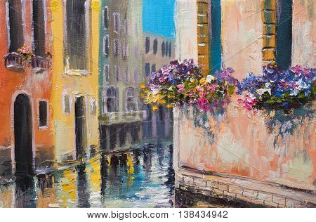 oil painting canal in Venice Italy famous tourist place colorful impressionism