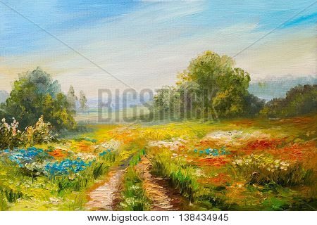 oil painting landscape colorful field of flowers abstract impressionism
