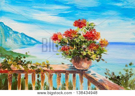 Oil painting landscape - bouquet of flowers in the background of Mediterranean Sea сoast near the mountains