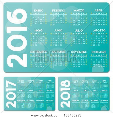 Spanish turquoise calendar 2016 2017 2018 vector design no drop shadow on the vector .eps 10 text is outlined
