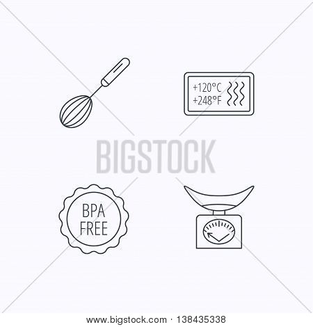 Kitchen scales, whisk and heat-resistant icons. BPA free linear sign. Flat linear icons on white background. Vector