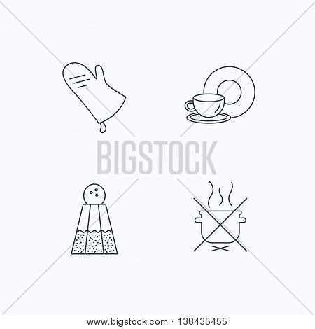 Salt, potholder and food, drink icons. Do not boil linear sign. Flat linear icons on white background. Vector