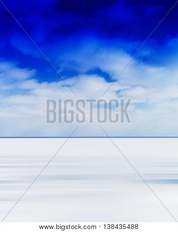 Vertical vivid blank empty winter lake horizon landscape with cloudscape background backdrop