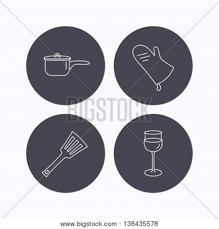 Saucepan, potholder and wineglass icons. Kitchen utensils linear sign. Flat icons in circle buttons on white background. Vector