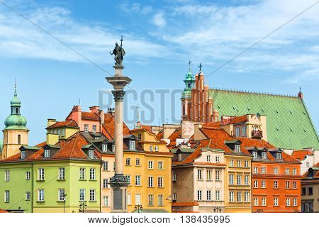 Sigismund's Column and roof tops, Warsaw city Poland