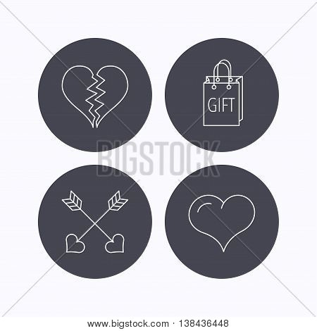 Love heart, gift box and arrows icons. Broken heart or divorce linear signs. Flat icons in circle buttons on white background. Vector