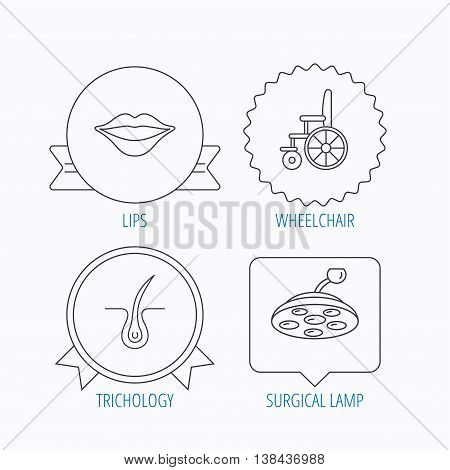 Trichology, surgical lamp and wheelchair icons. Lips linear sign. Award medal, star label and speech bubble designs. Vector