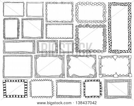 Frames doodle vector. Set of simple sketch doodles. Pencil effect collection. Zentangle style curve borders for signs banners notepads or printed products.