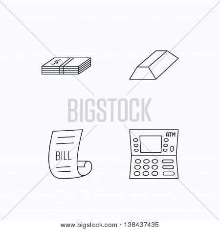 ATM, cash money and bill icons. Gold bar linear sign. Flat linear icons on white background. Vector