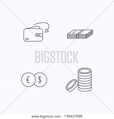 Currency exchange, cash money and coins icons. Receive money linear sign. Flat linear icons on white background. Vector